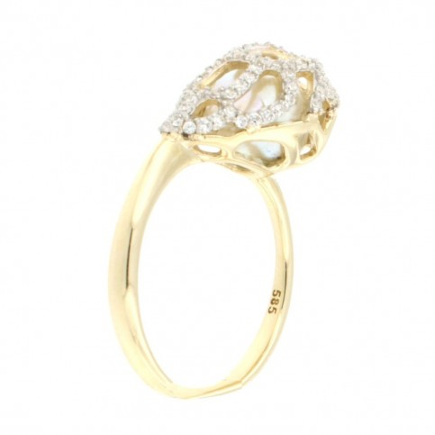 RING 14K GOLD WITH ZIRCON AND PEARL