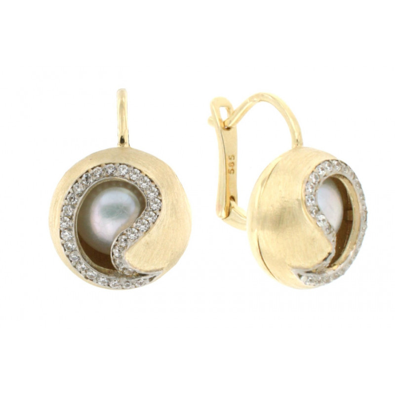 EARRINGS 14K GOLD WITH PEARLS AND ZIRCON