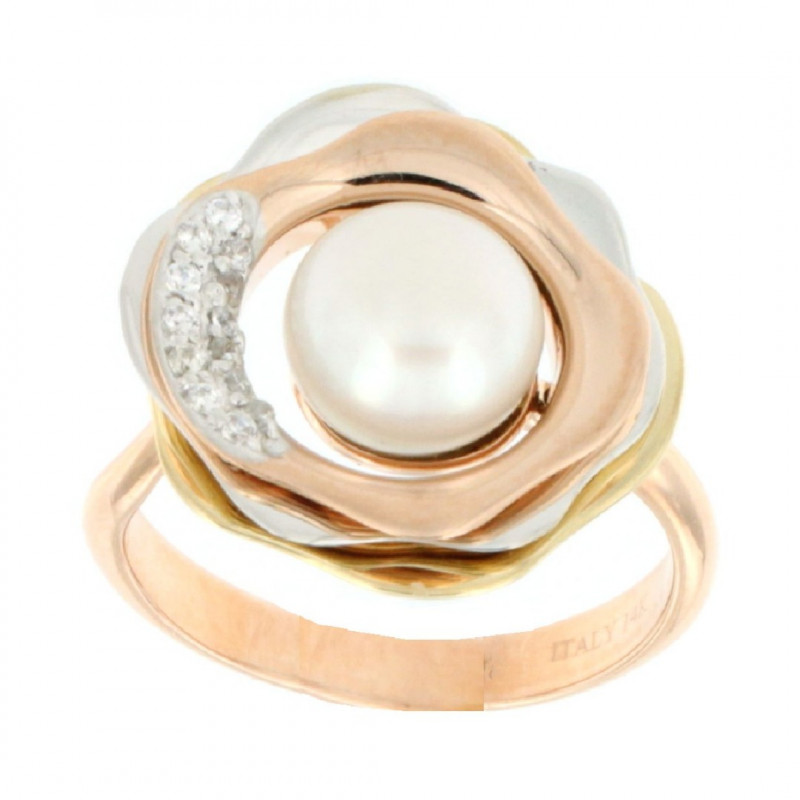 RING 14K GOLD WITH PEARL AND ZIRCON