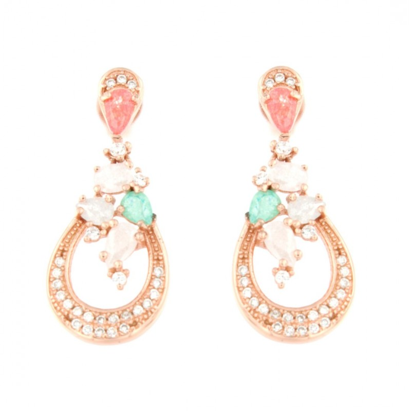 EARRINGS SILVER 925 ROSE GOLD-PLATED AND ZIRCON