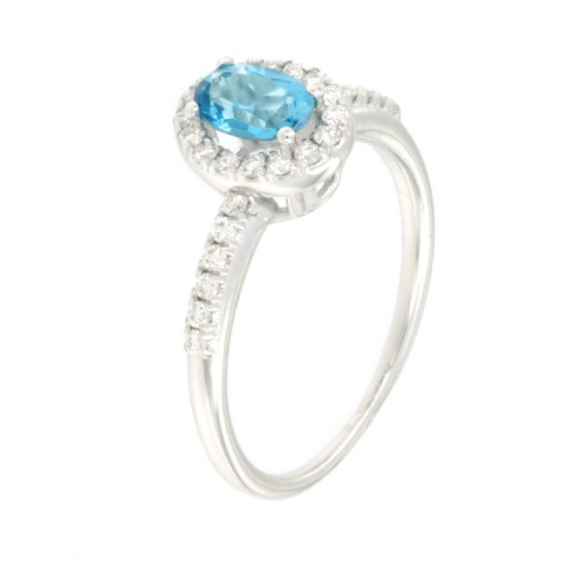 RING 14K WHITE GOLD WITH TOPAZ AND DIAMONDS
