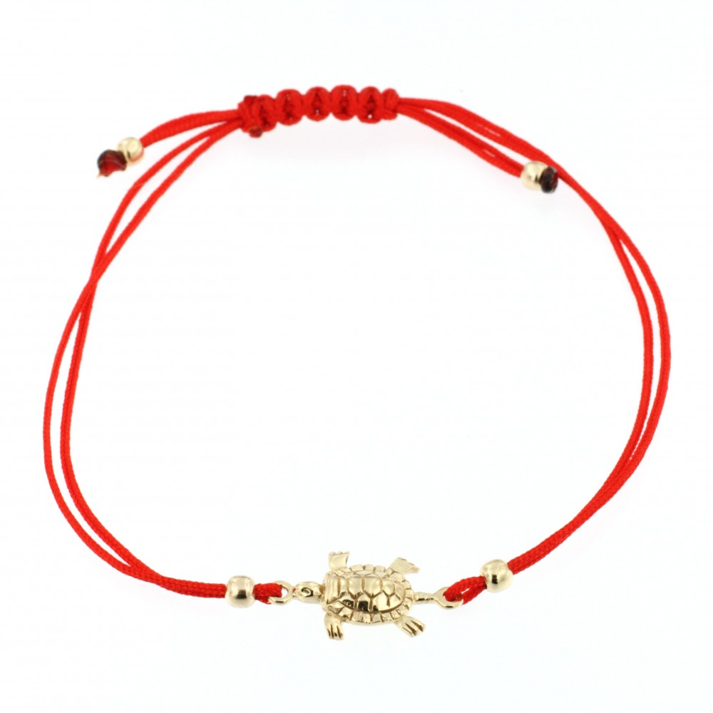BRACELET 14K GOLD WITH RED TIE