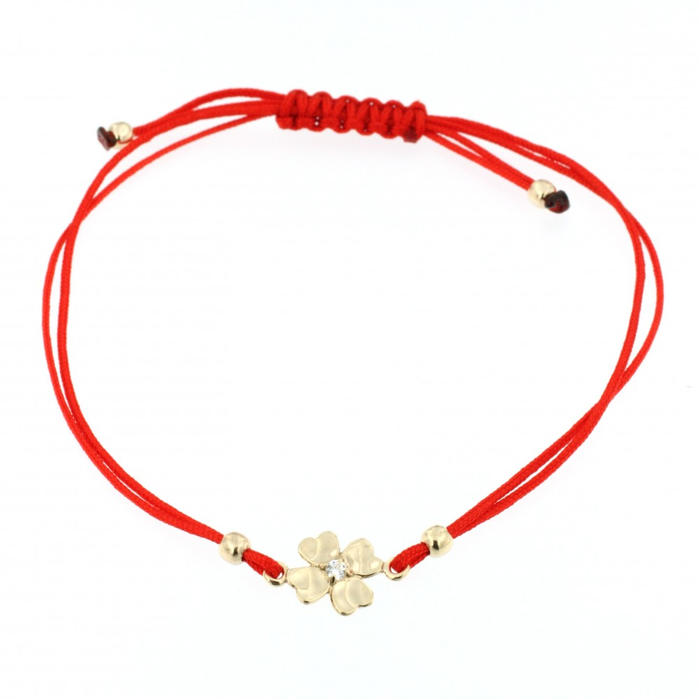BRACELET 14K GOLD WITH ZIRCON AND RED TIE