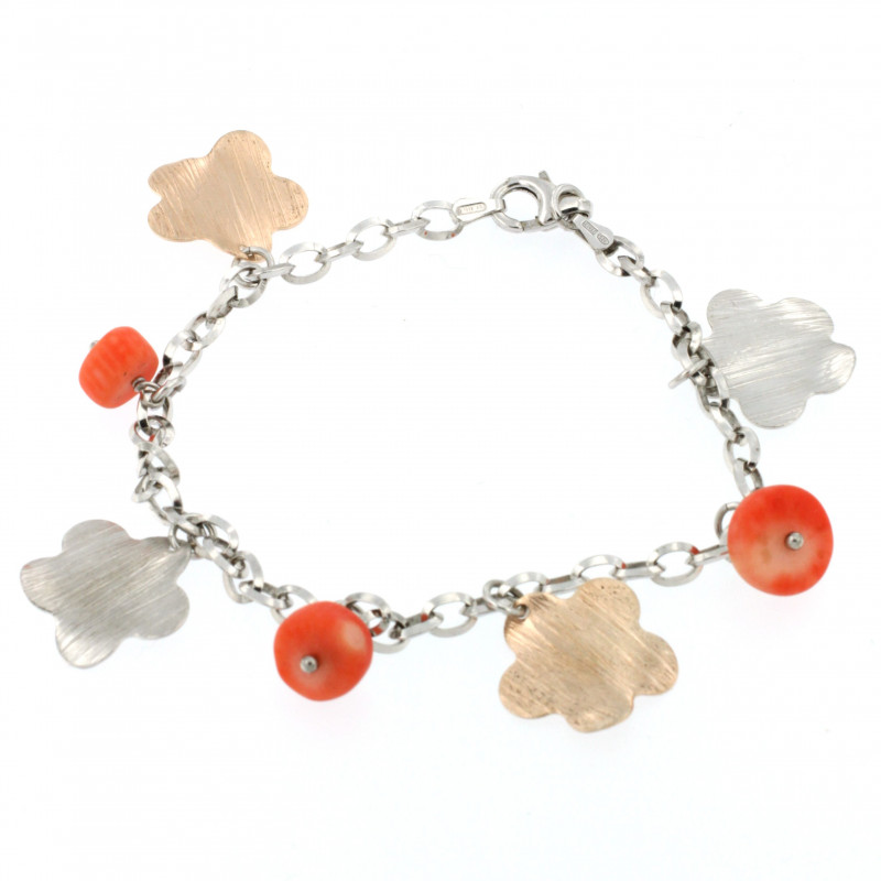 BRACELET SILVER 925 RHODIUM PLATED WITH CORAL