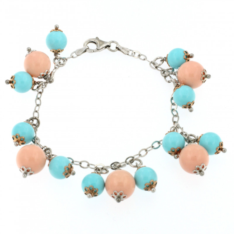 BRACELET SILVER 925 RHODIUM PLATED WITH CORAL AND TURQUOISE