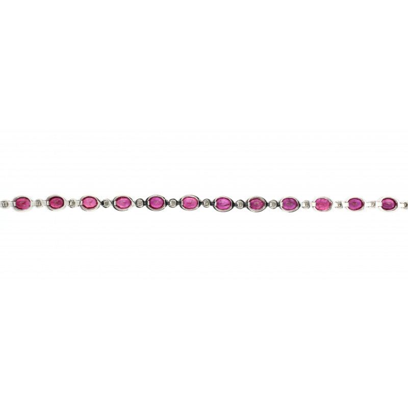 BRACELET 18K WHITE GOLD WITH RUBY AND DIAMONDS