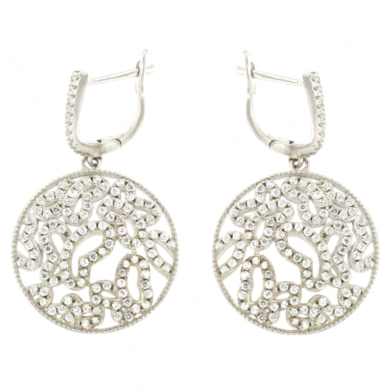 EARRINGS SILVER 925 RHODIUM PLATED WITH ZIRCON