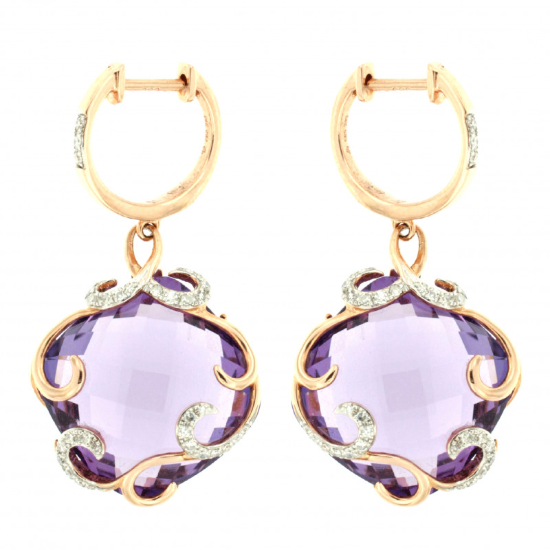 EARRINGS 14K GOLD WITH AMETHYST AND DIAMONDS
