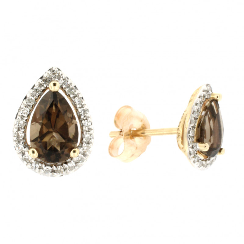 EARRINGS 14K GOLD WITH TOPAZ AND DIAMONDS