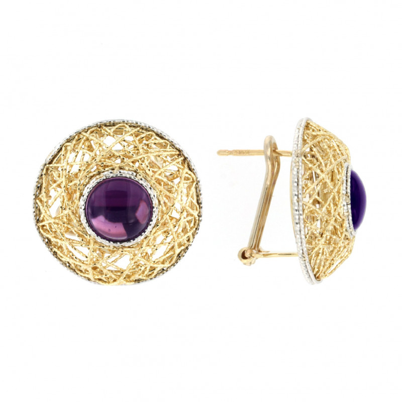 EARRINGS 14K GOLD WITH AMETHYST