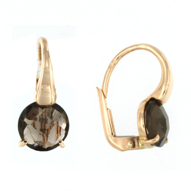 EARRINGS 14K GOLD WITH SMOKED QUARTZ
