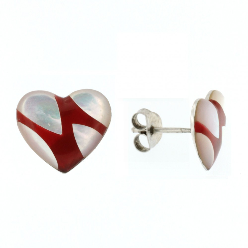 EARRINGS SILVER 925 RHODIUM PLATED WITH MOTHER OF PEARL