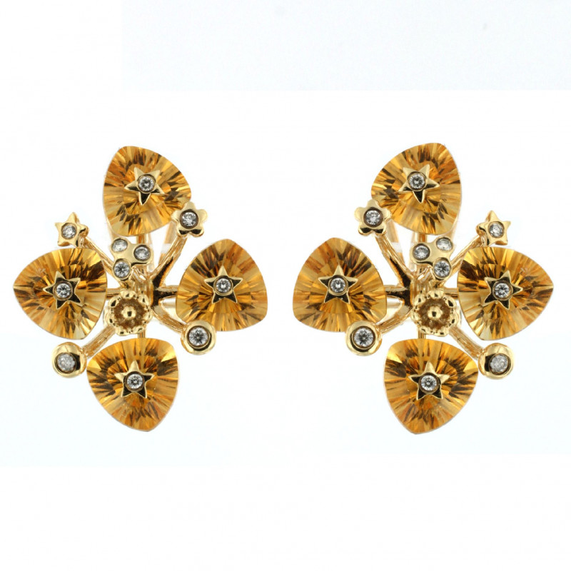 EARRINGS 14K GOLD WITH CITRINE AND DIAMONDS