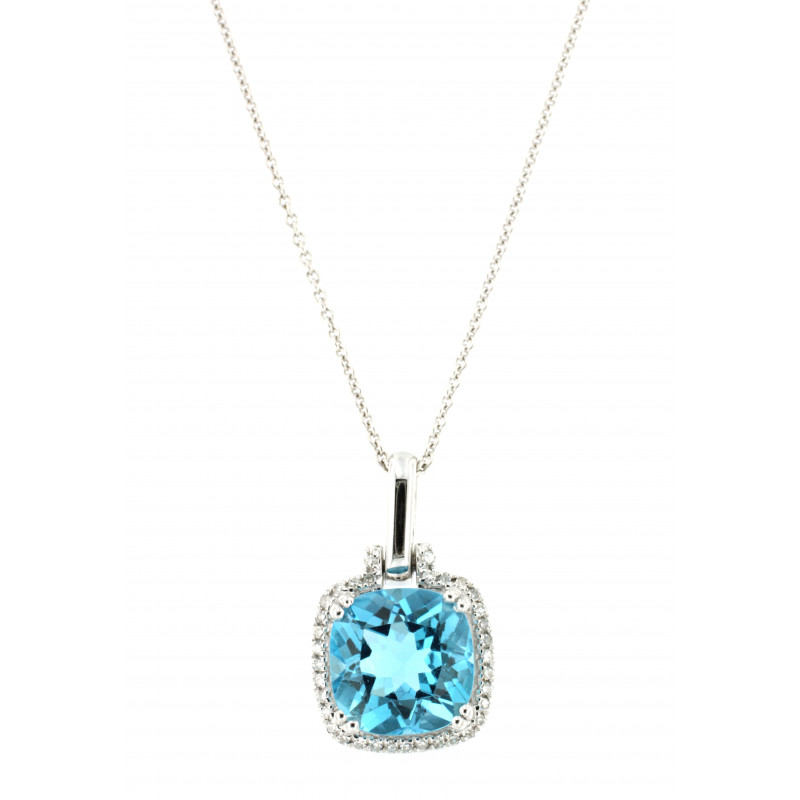 NECKLACE 14K WHITE GOLD WITH TOPAZ AND DIAMONDS