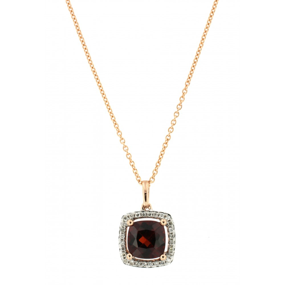 NECKLACE 14K PINK GOLD WITH GARNET AND DIAMONDS