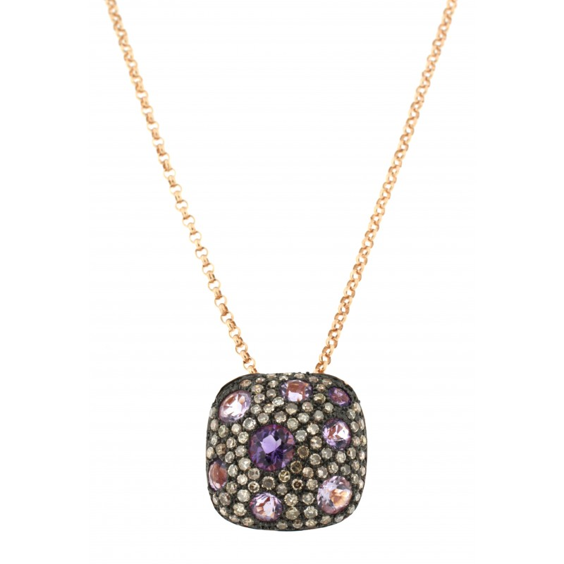 NECKLACE 14K PINK GOLD WITH AMETHYST AND DIAMONDS