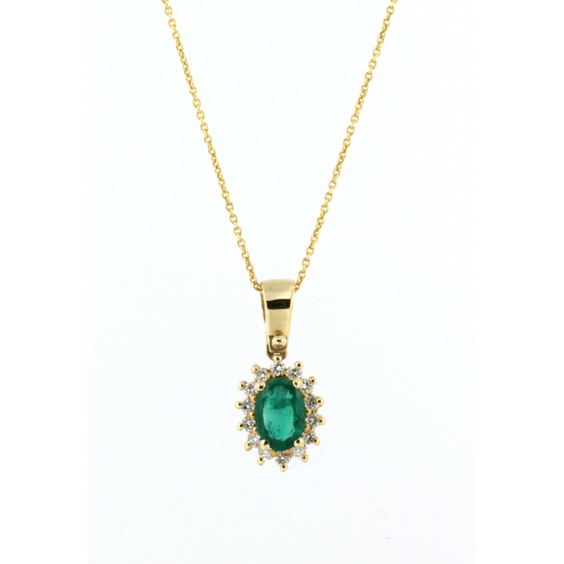 NECKLACE 14K GOLD WITH EMERALD AND DIAMONDS
