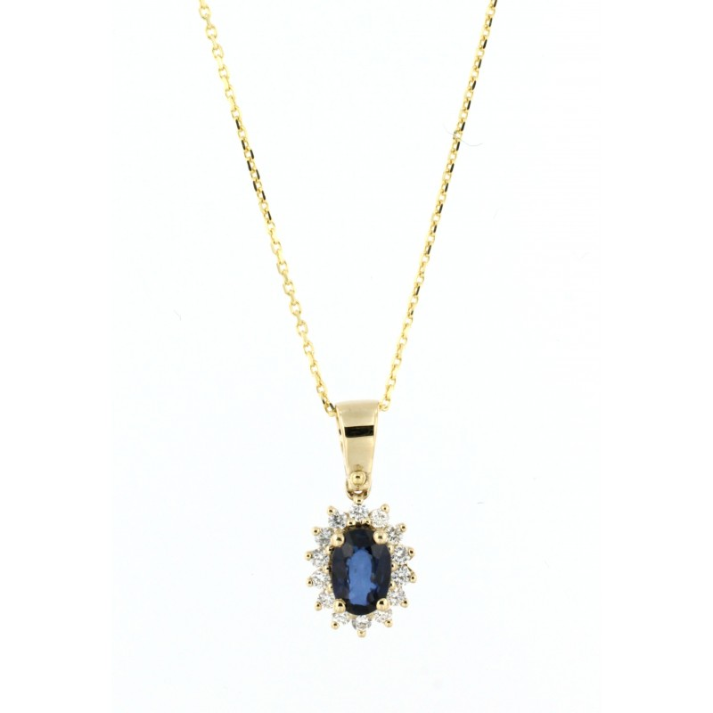 NECKLACE 14K GOLD WITH SAPPHIRE AND DIAMONDS