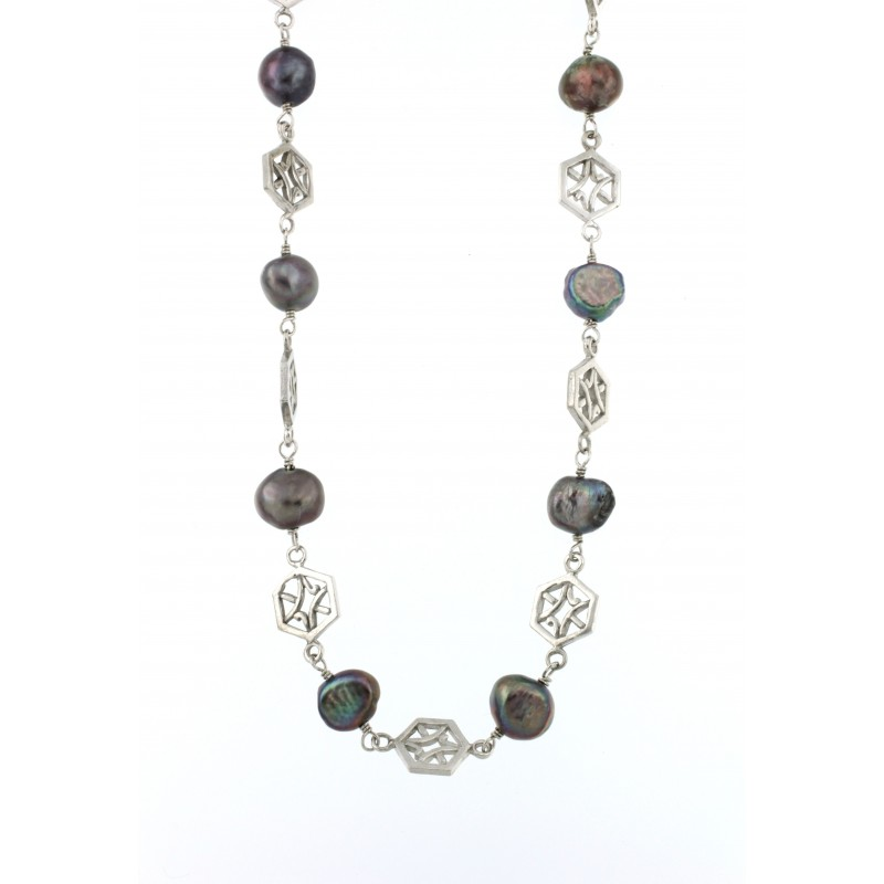 NECKLACE SILVER 925 RHODIUM PLATED WITH PEARLS