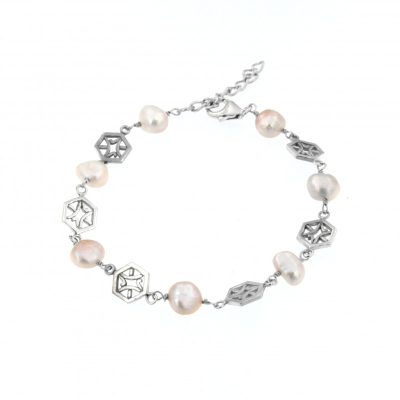 BRACELET SILVER 925 RHODIUM PLATED WITH PEARL