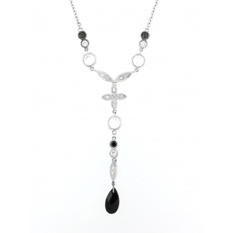 NECKLACE SILVER 925 RHODIUM PLATED WITH ONYX AND ZIRCON