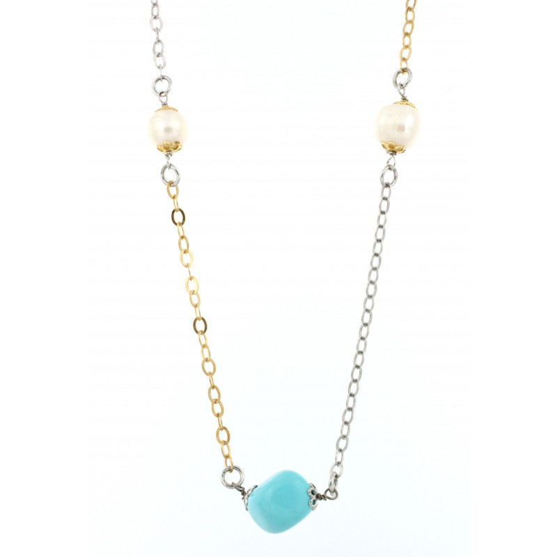NECKLACE SILVER 925 RHODIUM PLATED WITH PEARL AND TURQUOISE