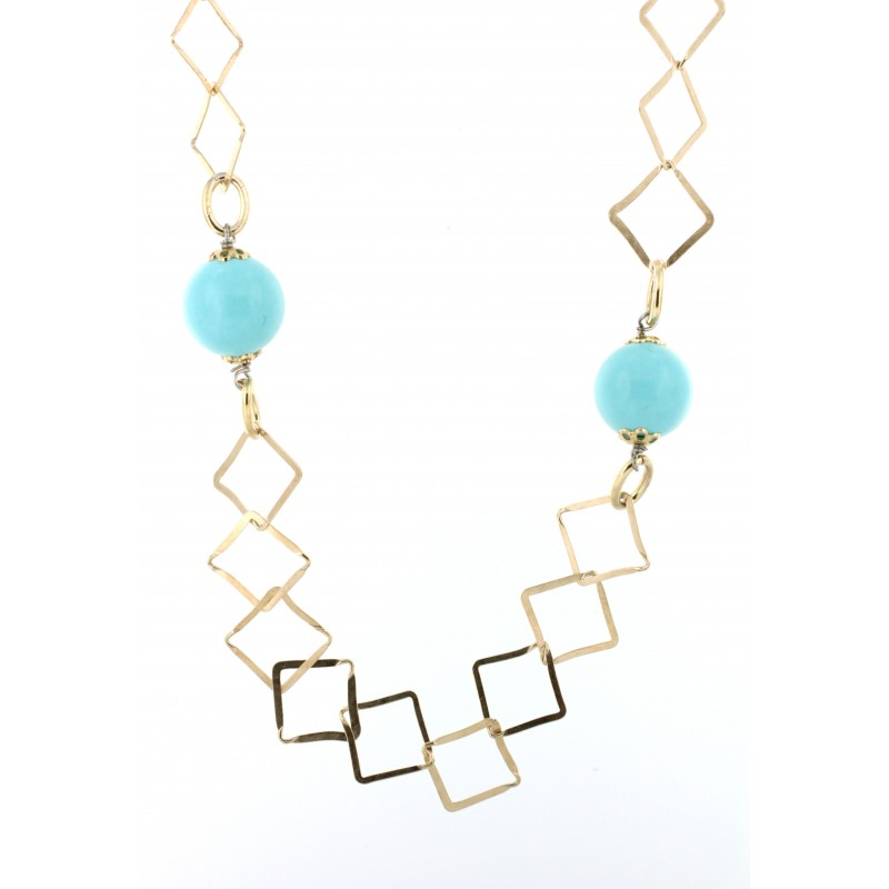 NECKLACE SILVER 925 RHODIUM PLATED WITH TURQUOISE