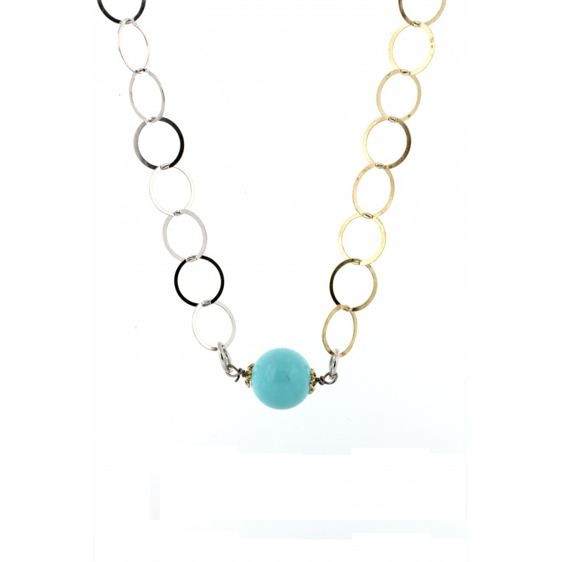 NECKLACE SILVER 925 RHODIUM PLATED WITH CORAL AND TURQUOISE