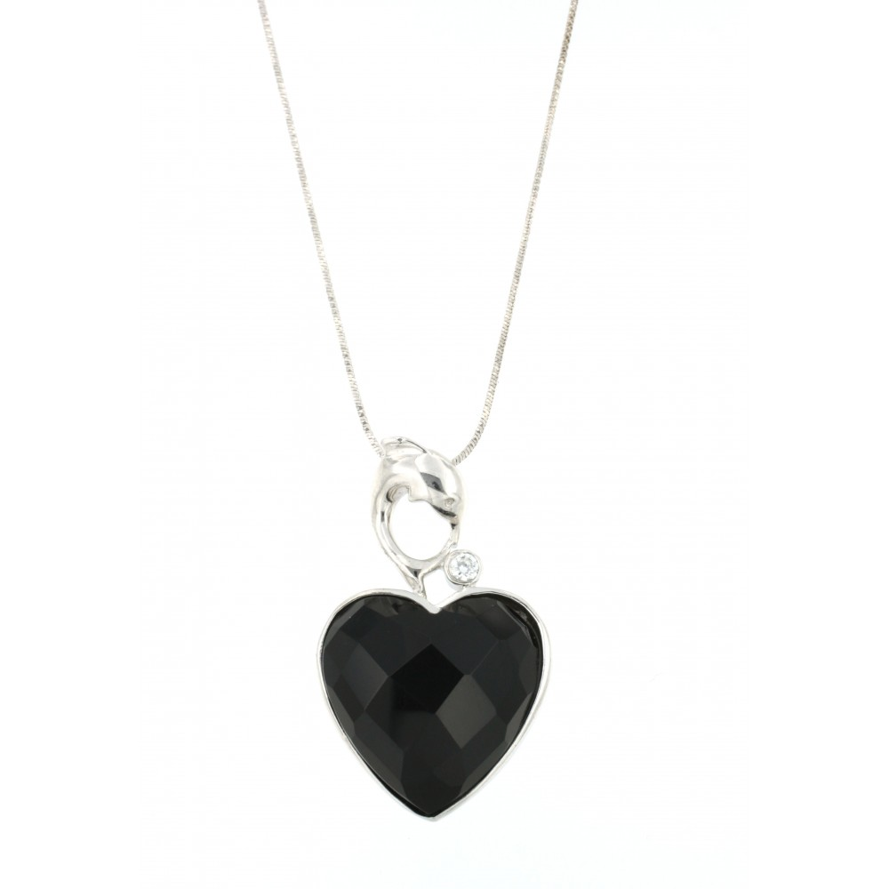 PENDANT SILVER 925 RHODIUM PLATED WITH ONYX AND ZIRCON
