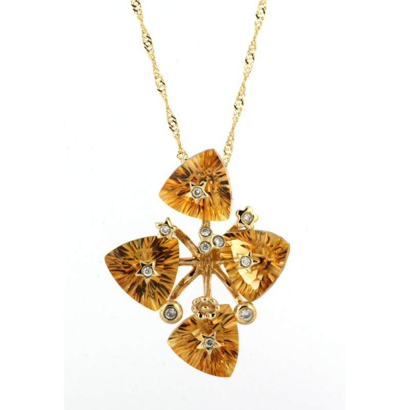 NECKLACE 14K GOLD WITH CITRINE AND DIAMONDS