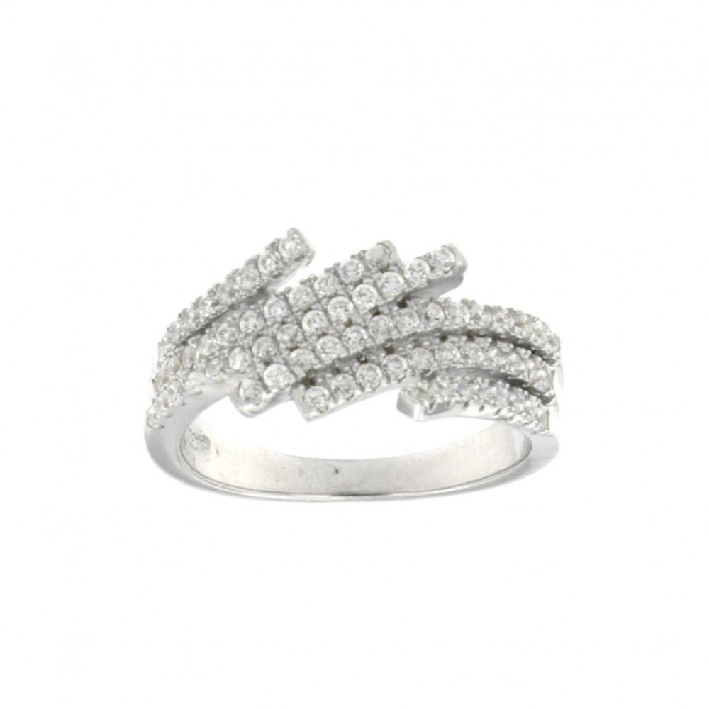RING SILVER 925 RHODIUM PLATED WITH ZIRCON