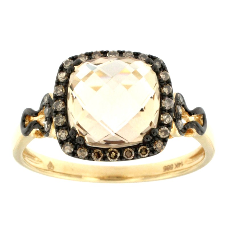 RING 14K GOLD WITH QUARTZ AND DIAMONDS