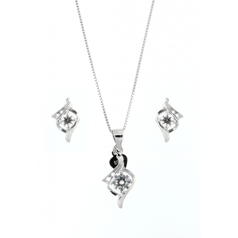 NECKLACE AND EARRINGS SILVER 925 RHODIUM PLATED WITH ZIRCON